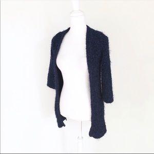 Zara blue chenille metallic open chunky cardigan
